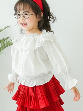 Ericdress White Hollow Lantern Sleeve Girls Shirt