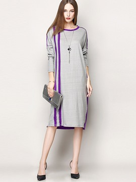 Ericdress Color Block Strip Patchwork Straight Casual Dress