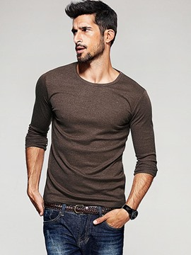 Ericdress Solid Color Long Sleeve Crew Neck Men's T-Shirt
