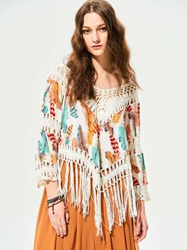 Ericdress V-Neck Batwing Sleeves Tassel Hollow T-shirt