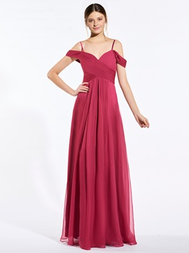 Popular Spaghetti Straps A Line Long Bridesmaid Dress