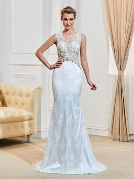 Ericdress Gorgeous Beaded Scoop Mermaid Lace Wedding Dress