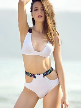 Ericdress Fashionable White Lace-Up Bikini Set