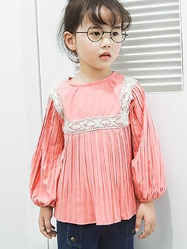 Ericdress Lace Pleated Lantern Sleeve Girls Shirt