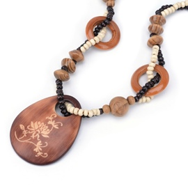 Ericdress Exotic Flowers Carved Wooden Beaded Long Necklace