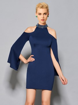Ericdress Stylish Beaded Short Cocktail Dress With Long Sleeve