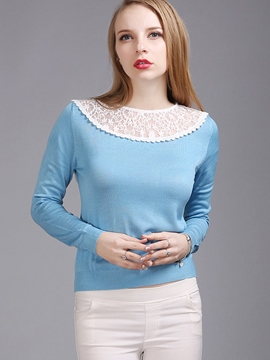 Ericdress Color Block Lace Patchwork Knitwear