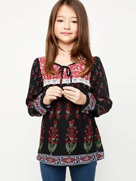 Ericdress Floral Lantern Sleeve Print Girls Shirt