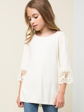 Ericdress Lace Thin Wool 3/4 Length Sleeves Girls Sweater