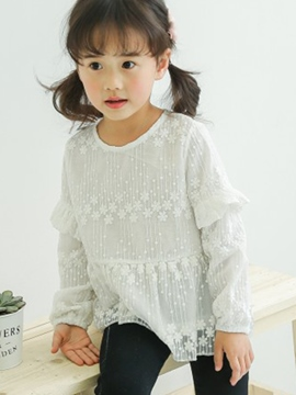 Ericdress Lace Embroidery White Cotton Long Sleeve Girls T-Shirt