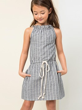 Ericdress Stripe Halter Lace-Up Backless A-Line Dress