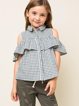 Ericdress Plaid Flare Sleeve Single-Breasted Girls Shirt