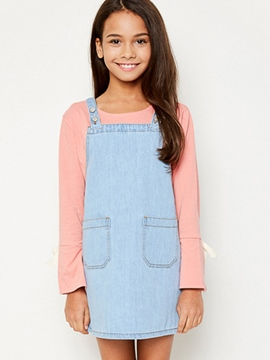 Ericdress Pocket Cowboy Suspenders Girls Dress