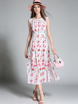 Ericdress Pastoral Pleated Floral Split Maxi Dress