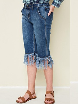 Ericdress Denim Tassel Button Mid-Calf Girls Pants