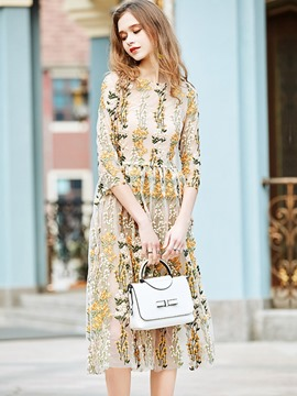 Ericdress Floral Embroidery See-Through Summer Casual Dress