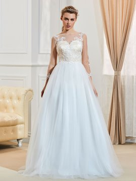 Beautiful Bateau Appliques A Line Long Sleeves Wedding Dress