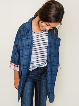 Ericdress Plaid Wrapped Mid-Length Girls Outerwear