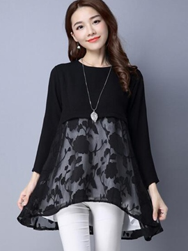 Ericdress Loose Lace Patchwork Casual T-Shirt