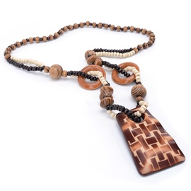 Ericdress Wall Pattern Carving Wooden Beaded Necklace