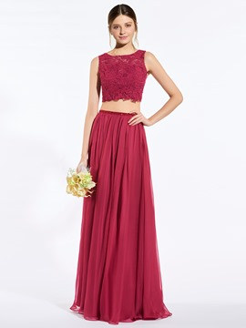 Ericdress Popular Scoop Lace Two Pieces Bridesmaid Dress