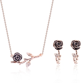 Ericdress Rose & Branch Design Gold Two-Pieces Jewelry Set