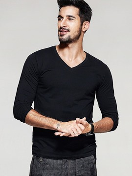 Ericdress Solid Color V-Neck Simple Slim Casual Men's T-Shirt