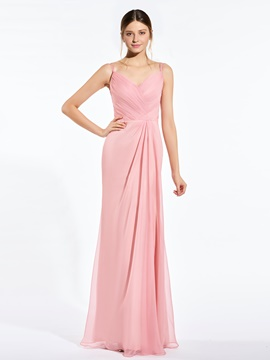 Ericdress Spaghetti Straps Sheath Long Bridesmaid Dress
