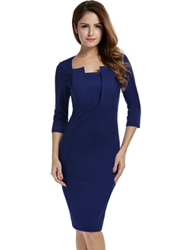 Ericdress Solid Color Square Neck 3/4 Sleeve Bodycon Dress