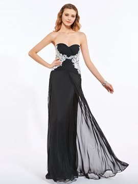 Ericdress Sweetheart Appliques Pleats Sequins Floor-Length Long Prom Dress