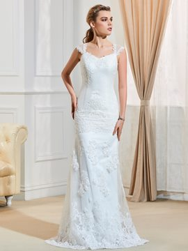 Ericdress Charming Straps Appliques Mermaid Wedding Dress