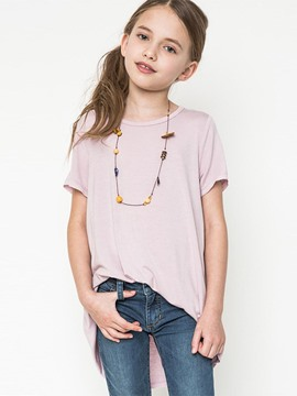 Ericdress Asymmetric Plain Short Sleeve Mid-Length Girls T-Shirt