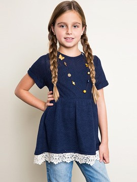 Ericdress Pleated Loose Pullover Short Sleeve Girls Sweater