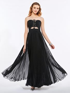 Ericdress Scoop Neck Appliques Pleats A Line Long Prom Dress