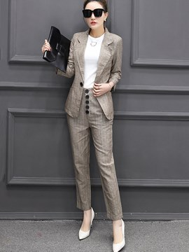 Ericdress Notched Lapel One Button Stripe Formal Suit