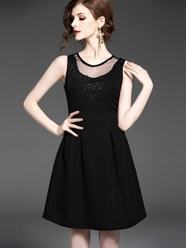 Ericdress Sleeveless Mesh Patchwork Sequins Little Black Dress
