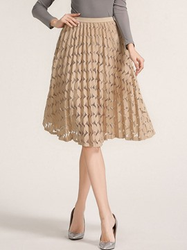 Ericdress Plain Pleated Lace Hollow Knee-Length Skirt