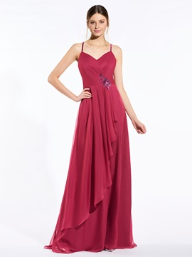 Ericdress Beautiful Spaghetti Straps Appliques Bridesmaid Dress