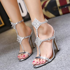 Ericdress Eurameric Rivets Open Toe Stiletto Sandals