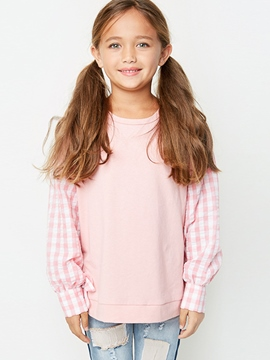 Ericdress Lantern Sleeve Plaid and Plain Girls Shirt