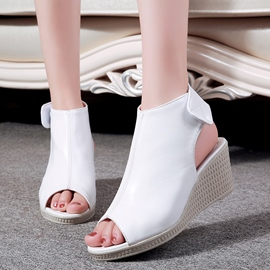 Ericdress Elegant PU Peep Toe Wedge Sandals