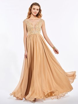 Ericdress A Line Cap Sleeve Lace Applique Beaded Floor Length Prom Dress