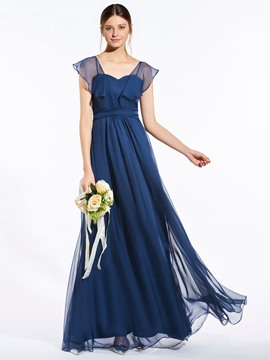 Ericdress Fancy V Neck A Line Long Bridesmaid Dress