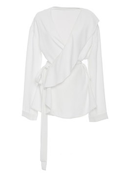 Ericdress White Wide-Lapel Belt Blouse
