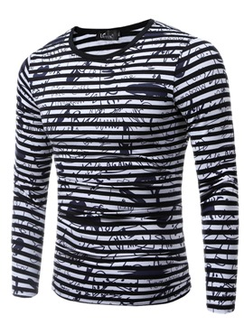 Ericdress Crew Neck Stripe Long Sleeve Men's T-Shirt