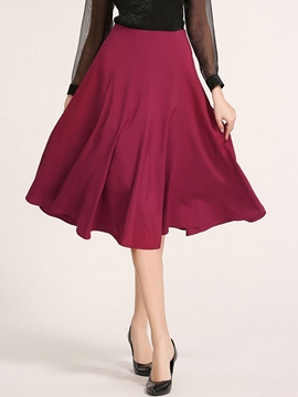 Ericdress Plain Pleated Knee-Length Expansion Skirt
