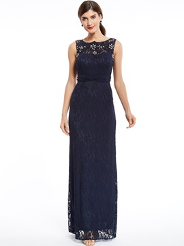 Ericdress Sheath Beaded Lace Evening Dress With Zipper-Up Back