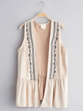Ericdress Embroidery Plain Patchwork Girls Vest