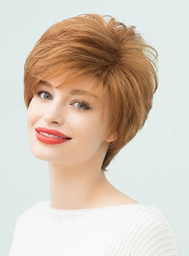 Ericdress Elegant Loose Messy Blonde Layered Short Straight Human Hair With Bangs Capless Cap Wigs 10 Inches