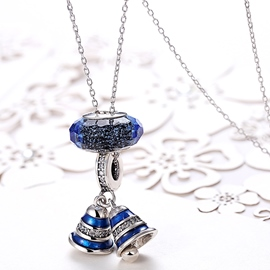 Ericdress Blue Bell Diamante 925 Silver Necklace